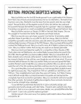 Gymnastics Paired Texts: Nastia Liukin and Mary Lou Retton: Nonfiction Passages