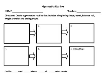 Gymnastics Routine Planning Sheet and Rubric