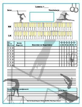 Gymnastics Themed Piano Lessons Assignment Sheet