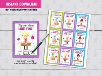 Gymnastics Valentine's Day Card DIY Printable, Gymnastic Girl Exchange Tag Ideas