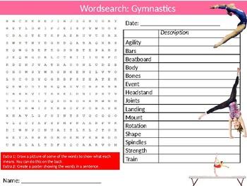 Gymnastics Wordsearch Puzzle Sheet Keywords Physical Education Sport