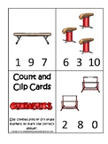 Gymnastics themed Count and Clip Preschool Math Card Game. Counting and Numbers.