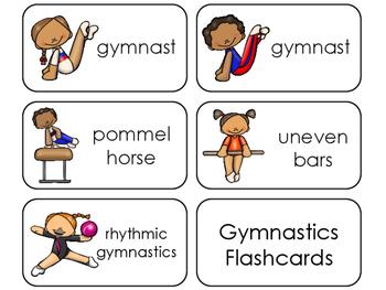 Gymnastics Printable Flashcards. Preschool-1st Grade Sports.
