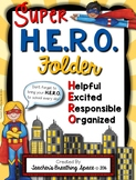 H.E.R.O. Folder Covers --- Super Hero Take Home Folders With EDITABLE Pages