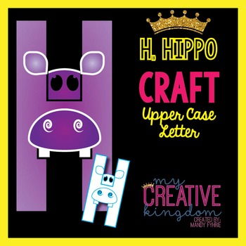 H - Hippo Upper Case Alphabet Letter Craft