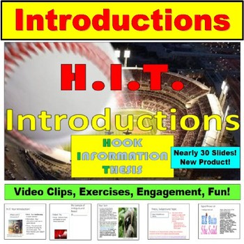 H.I.T. Introduction and Thesis:  Hook, Information, and Thesis PowerPoint