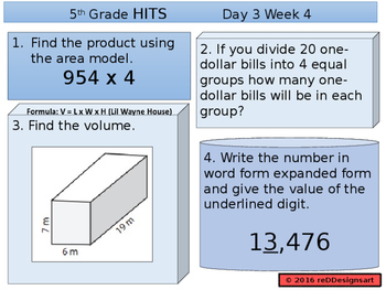 H.I.T.S. 5th Grade Math Spiral Daily Review