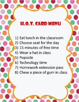 H.O.T. Cards: Homework On Time!