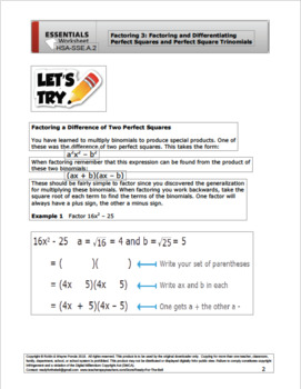 HSA.SSE.A.2 Algebra: Factoring 3 Perfect Squares and Perfect Square Trinomials