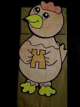 H is for Hen paper bag puppet