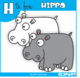H is for Hippo Clip Art