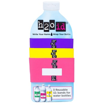 H2O ID 3 Pack Water Bottle Bands PURPLE, YELLOW, DARK PINK Combination