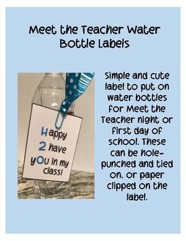 H2O Water Bottle Label