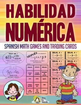 HABILIDAD NUMERICA - TARJETAS DE INTERCAMBIO Spanish Math Vocabulary Games