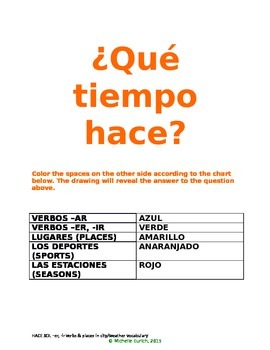 HACE SOL COLORING with infinitive verbs, weather, sports, places