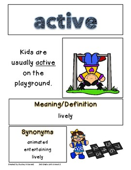 Reading Wonders Grade 2 Vocabulary Posters Unit 4