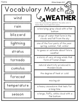 Weather Vocabulary Activities