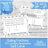 Adding Fractions with Common Denominators Task Cards | TEKS 4.3e | Intervention