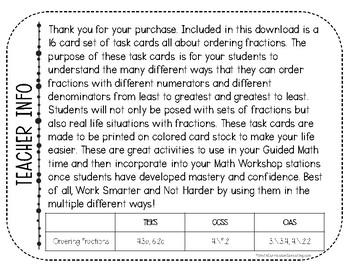 Ordering Fractions Task Cards | TEKS 4.3d | TEKS 6.2c | Math Intervention