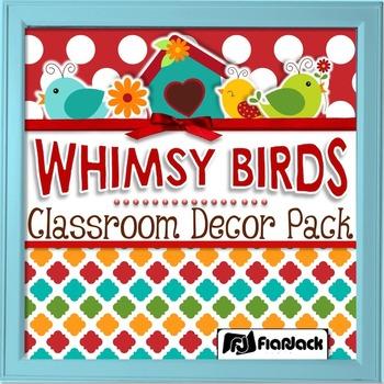 Editable Whimsy Birds Classroom Decor Materials Pack