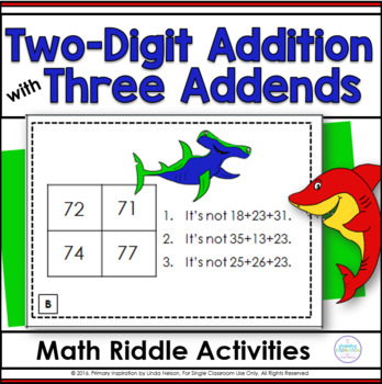 Adding 3 Two-Digit Numbers Math Logic Task Cards