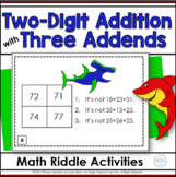 Two Digit Addition with Three Addends Math Riddle Task Cards