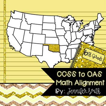 FREEBIE Sixth Grade Oklahoma Academic Standards Math Alignment