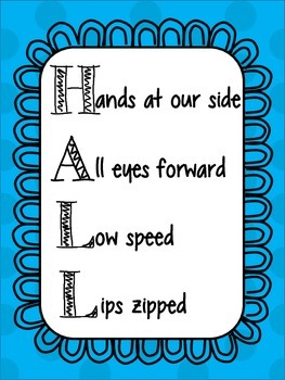 HALL Behavior Management Poster Blue Dot Design