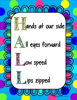 HALL Behavior Management Poster Bright Dots Design