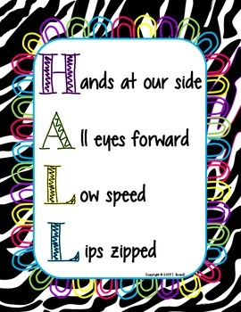 HALL Behavior Management Poster Zebra Design Black