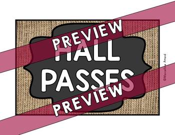 HALL PASSES CHALKBOARD THEME (BURLAP AND CHALKBOARD CLASSROOM DECOR)