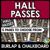 HALL PASSES CHALKBOARD THEME (BURLAP AND CHALKBOARD CLASSR