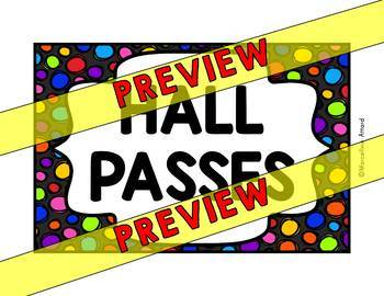 HALL PASSES FOR LANYARDS AND FREE HEADER LABEL (POLKA DOTS CLASSROOM DECOR)