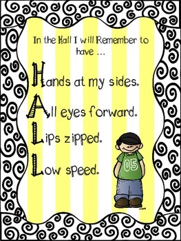 HALL and 4 S Line Expectations Posters - Yellow stripes and black swirl designs