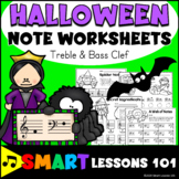 HALLOWE Note Name Worksheets: Treble Clef Bass Clef Activi