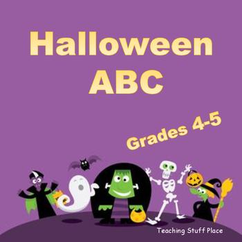 HALLOWEEN ABC Order | Vocabulary | WRITING |28 Task Cards | ACTIVITIES | Gr 4-5