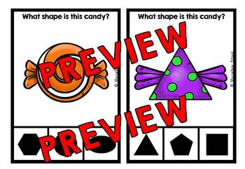 HALLOWEEN ACTIVITIES KINDERGARTEN (CANDY SHAPES RECOGNITION CLIP CARDS)