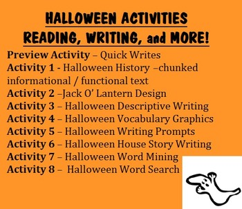 HALLOWEEN ACTIVITIES -chunked informational/functional reading, writing, & MORE!