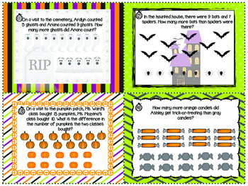 HALLOWEEN ADDITION AND SUBTRACTION WORD PROBLEMS for young readers