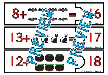 HALLOWEEN ACTIVITY KINDERGARTEN (ADDITION COUNTING ON MATH CENTER CLIP CARDS)
