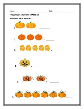 HALLOWEEN ADDITION: HOW MANY PUMPKINS?: GRADES K-1