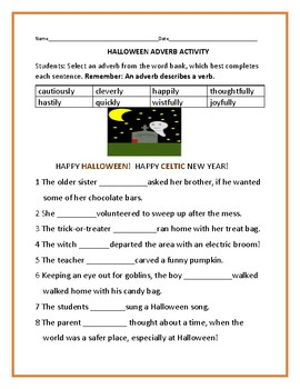 HALLOWEEN ADVERB ACTIVITY
