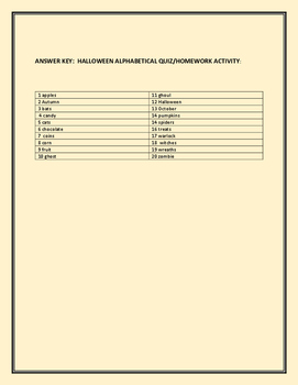 HALLOWEEN ALPHABETICAL QUIZ/ HOMEWORK ACTIVITY