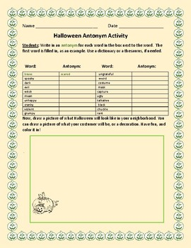 HALLOWEEN ANTONYM ACTIVITY