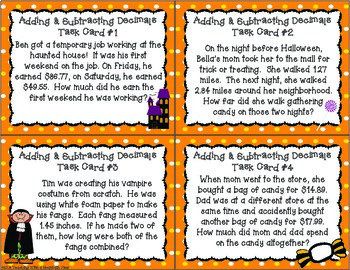 HALLOWEEN Adding and Subtracting Decimals Task Cards  #BasketBargains