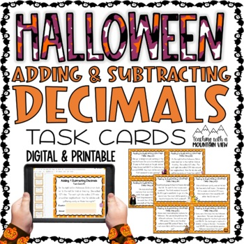 HALLOWEEN Adding and Subtracting Decimals Task Cards
