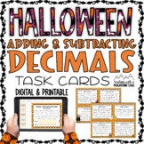 Halloween Adding and Subtracting Decimals Task Cards   Google Classroom