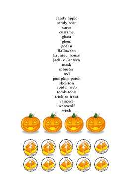 HALLOWEEN BINGO AND CANDY CORN CHIPS