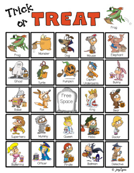 HALLOWEEN BINGO! Cute cartoon characters in costumes for younger children