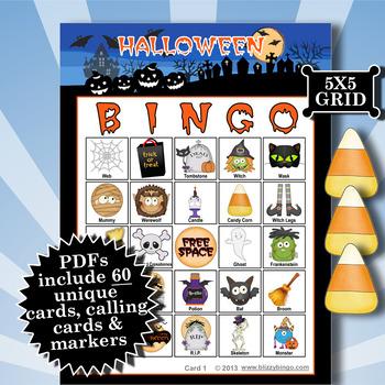 HALLOWEEN - BLUE 5x5 BINGO - 60 CARDS